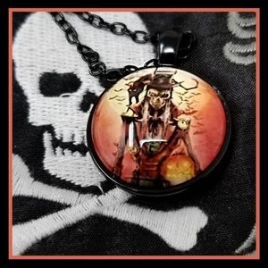 Handmade Steampunk Skeleton Horror Necklace Black